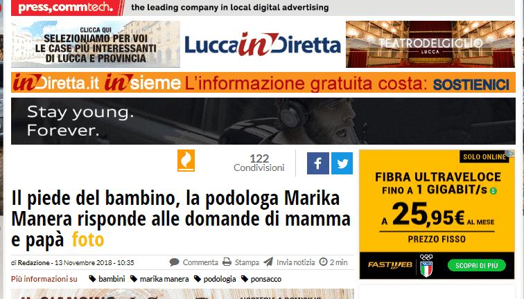 lucca in diretta podologo marika manera piede bambino